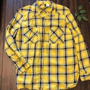 DIVIDED yellow and black plaid button-down